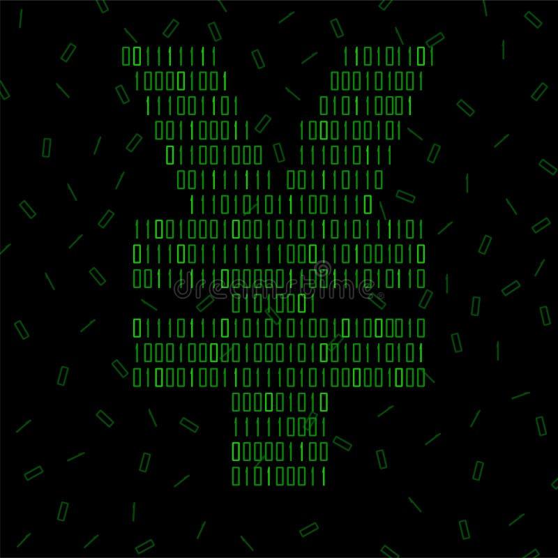 Yuans abstraits de signe de code binaire, technologie illustration stock