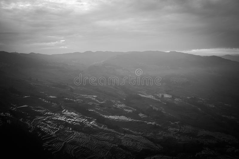Yuanyang rice terraces, panoramic view, chinese landscapes, UNESCO world heritage site. Yunnan, China, Asia royalty free stock image