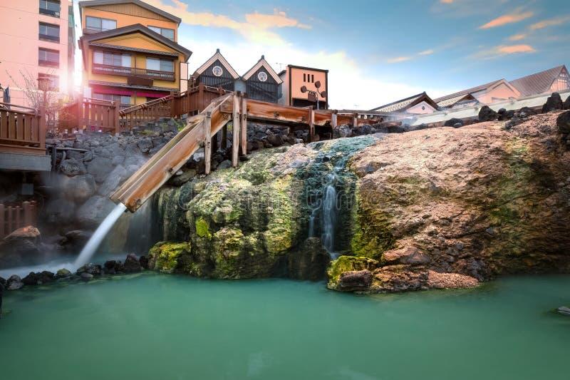 Yubatake Hotspring przy Kusatsu Onsen w Gunma, Japonia zdjęcie royalty free