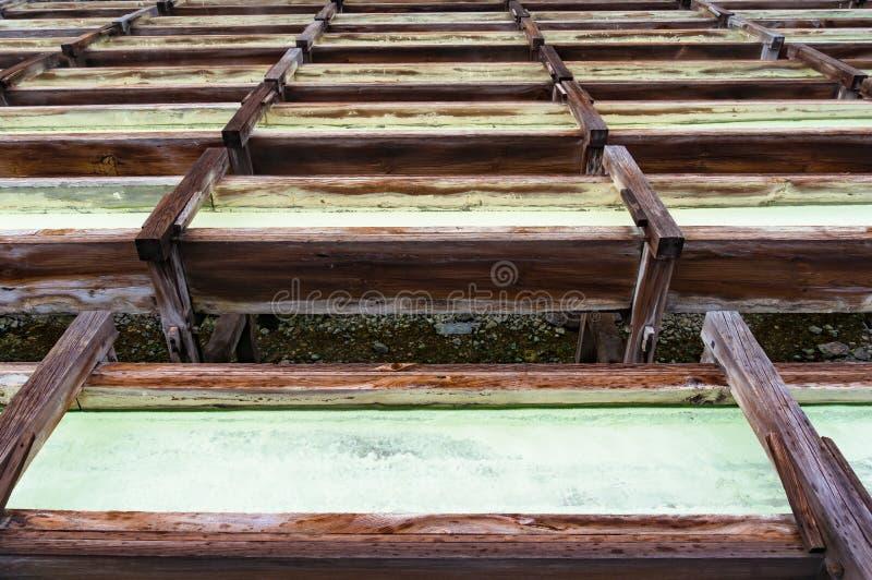 Yubatake onsen, gorącej wiosny drewniani pudełka z wodą mineralną obraz stock