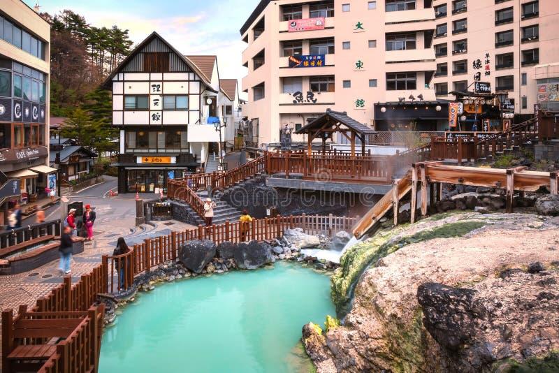 Yubatakewarmwaterbron in Kusatsu Onsen in Gunma, Japan royalty-vrije stock afbeeldingen
