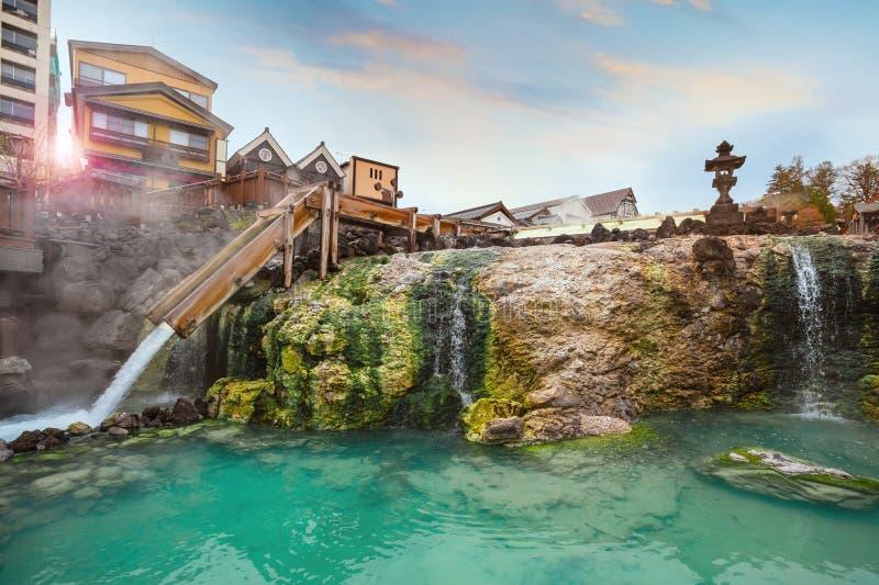 Yubatakewarmwaterbron in Kusatsu Onsen in Gunma, Japan stock foto