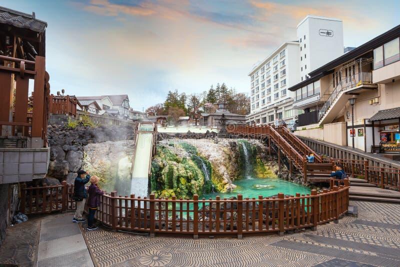 Yubatakewarmwaterbron in Kusatsu Onsen in Gunma, Japan royalty-vrije stock afbeelding