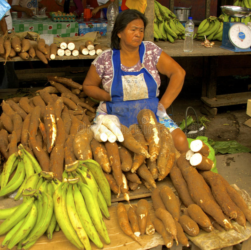 Yuca sprzedawca przy Belen rynkiem, Iquitos, Peru zdjęcia royalty free