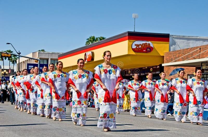 Yucatan costumes in parade royalty free stock photos