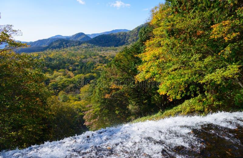 Yudaki-Wasserfall im Herbst, in Nikko, Japan stockbilder