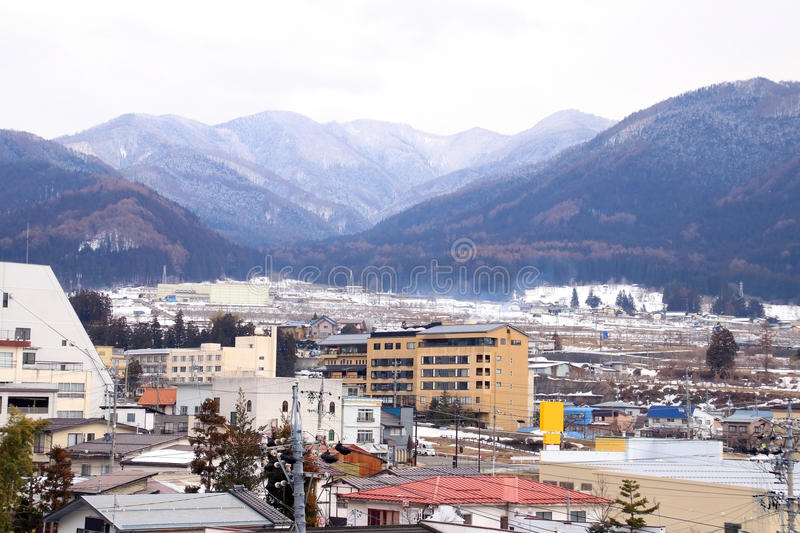 Yudanaka town in Japan. Small town in a valley in japan royalty free stock photo