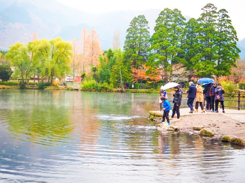 Yufuin旅行城市在九州,日本 库存照片