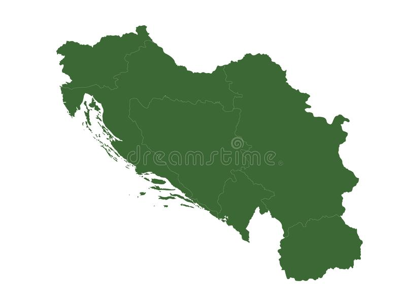 Yugoslavia map - country in Southeastern and Central Europe for most of the 20th century. Vector file of Yugoslaviaa map - country in Southeastern and Central royalty free illustration