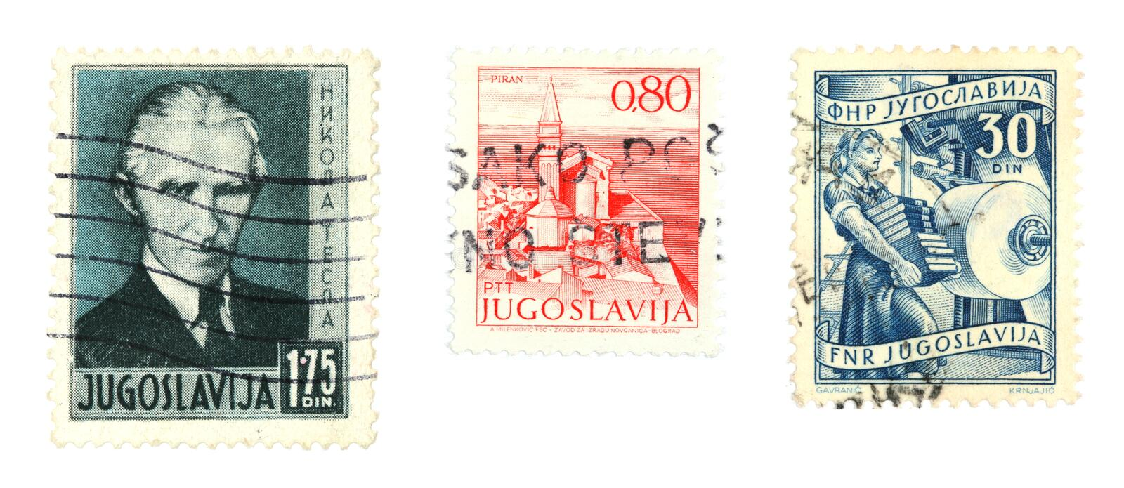 Yugoslavia stamps. Collectible stamps from Yugoslavia. Famous scientist Nicola Tesla and view of Piran royalty free stock photo