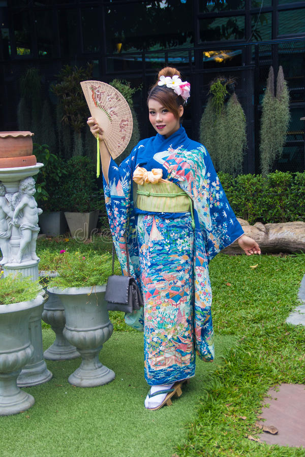 Yukata girl stock photo