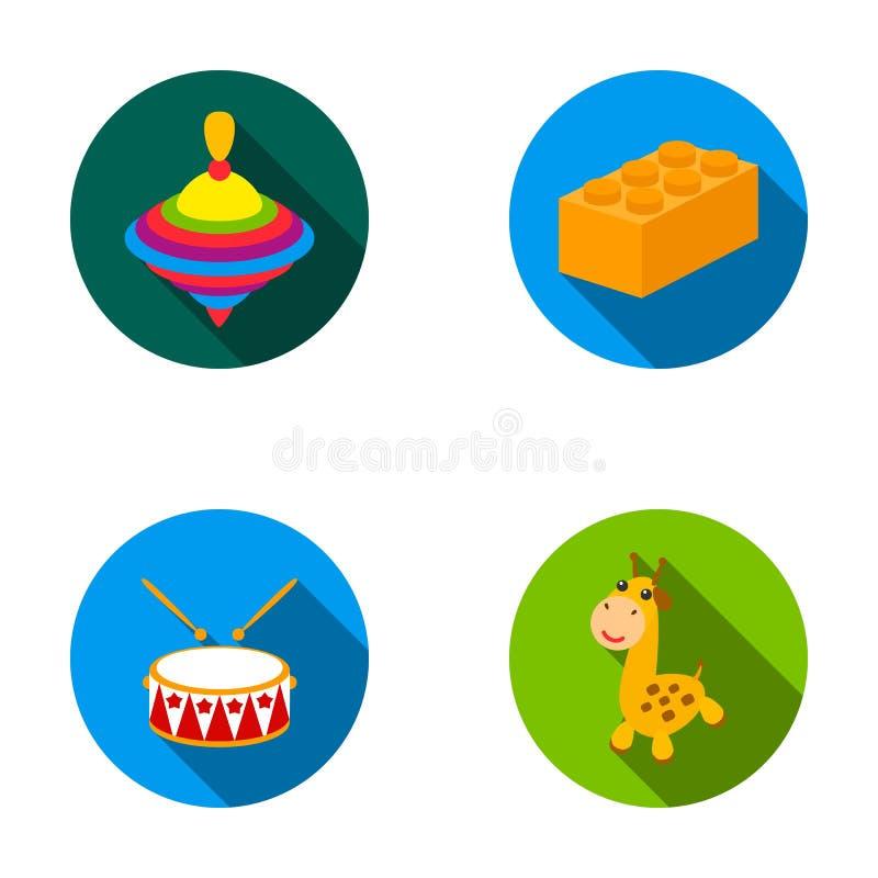 Yula lego, vals, giraff Leksaker ställde in samlingssymboler i plan rengöringsduk för illustration för materiel för stilvektorsym stock illustrationer