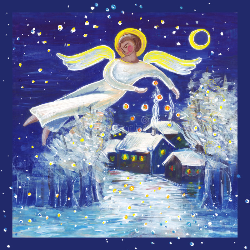 Yule Angel. Angel illustration in an acryle painting royalty free illustration