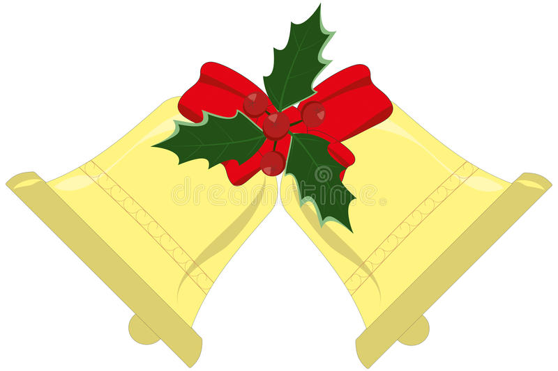 Yule bells. With holly leaves and berries vector illustration