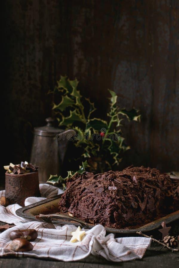 yule för hemlagad journal för chokladjuldof grund royaltyfri fotografi