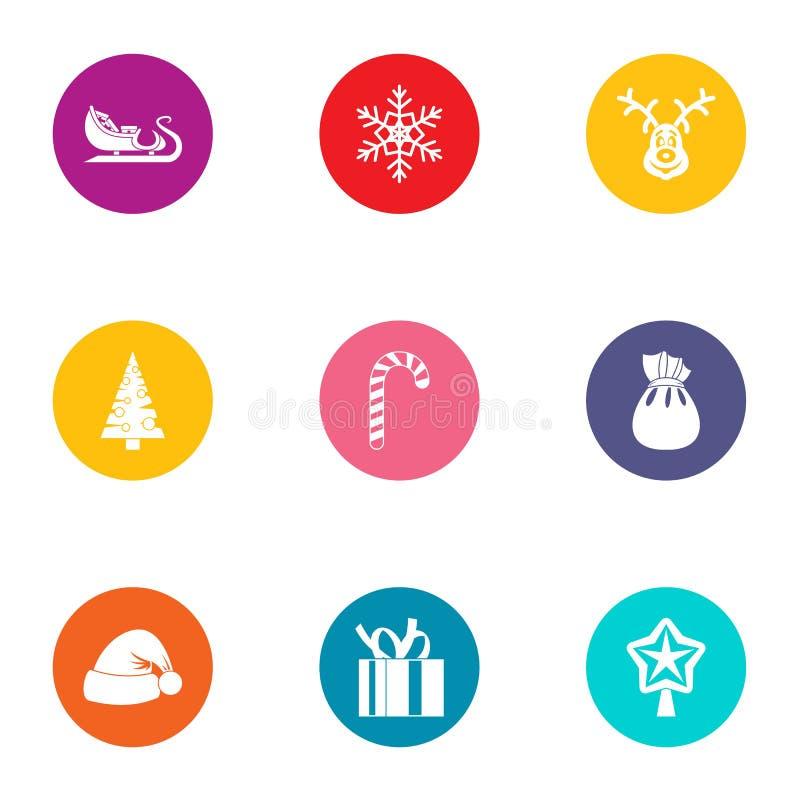 Yule icons set, flat style royalty free illustration