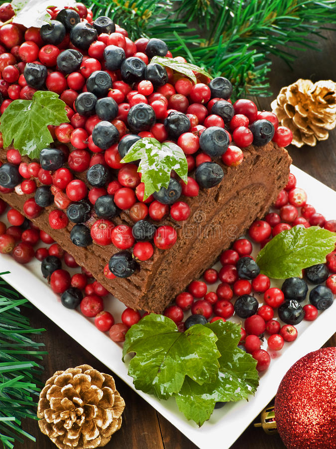 Download Yule log stock photo. Image of lingonberry, plate, cake - 21426368