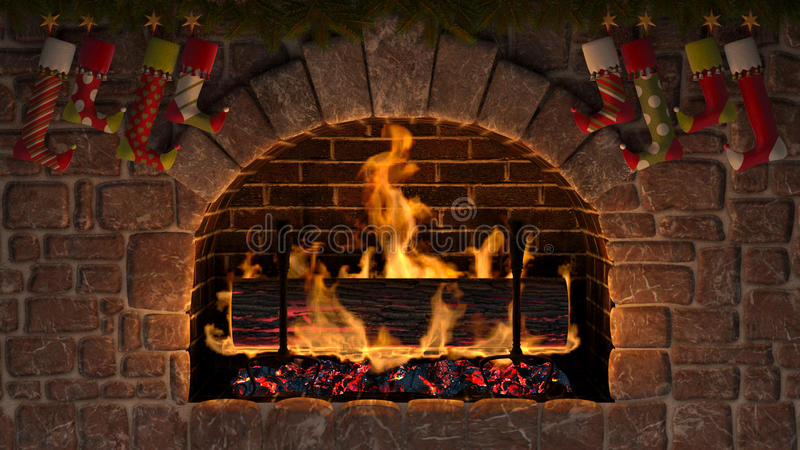 Yule Log. Burning Yule Log in fireplace decorated with christmas stockings