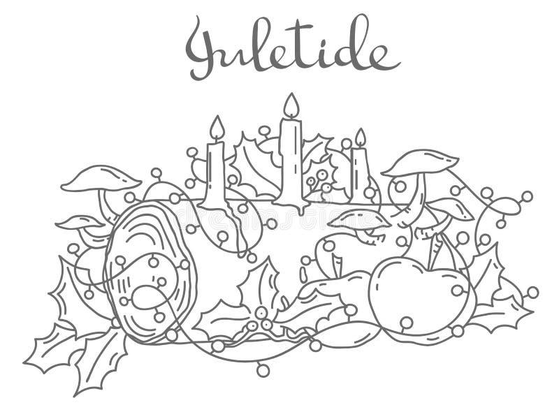 Yule log, outline vector illustration. Traditional Yule Log, hand drawn outline vector illustration royalty free illustration