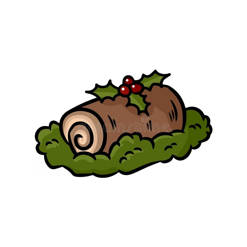 Yule log topped with berries colorful doodle royalty free illustration