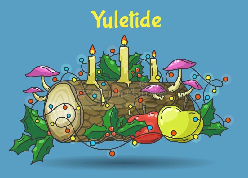 Yule log, vector illustration. Traditional Yule Log, color hand drawn vector illustration stock illustration