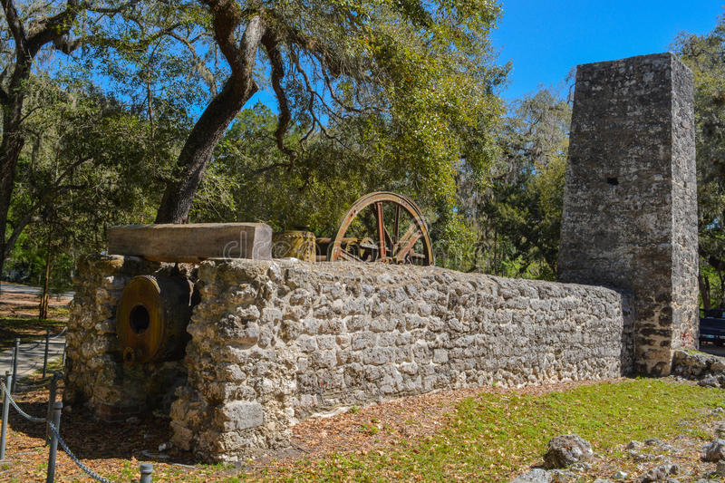 Yulee Sugar Mill Ruins Historic State Park in Homosassa Florida USA. Yulee Sugar Mill Ruins Historic State Park in Homosassa Florida stock image