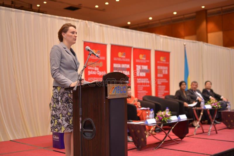 Yulia Kovaliv, Eerste Afgevaardigde Minister van Economische Ontwikkeling en Handel de Oekraïne stock fotografie