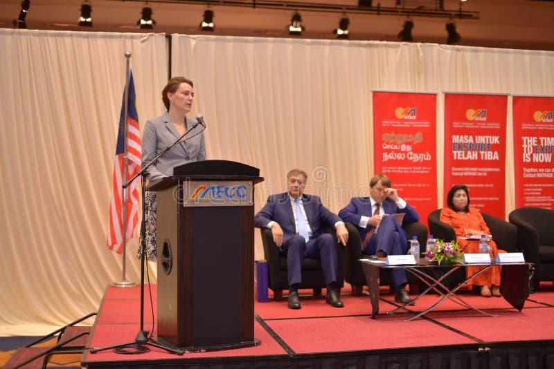 Yulia Kovaliv första ställföreträdande Minister av ekonomisk utveckling och handel Ukraina arkivbild