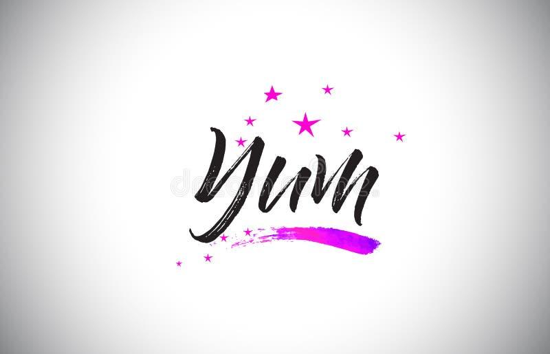 Yum Handwritten Word Font con il vettore vibrante dei coriandoli e di Violet Purple Stars illustrazione vettoriale