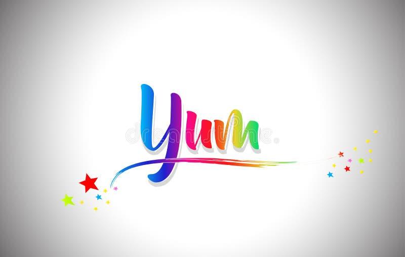 Yum Handwritten Word Text con i colori dell'arcobaleno e vibranti mormorano illustrazione di stock