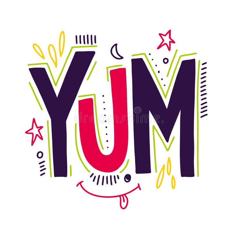 Free Yum. Yummy Word. Hand Drawn Vector Lettering. Vector Illustration Isolated On Background Stock Images - 138167844