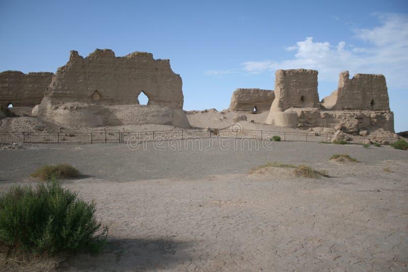 Yumen Guan storehouse, Gobi desert, Dunhuang China royalty free stock photo