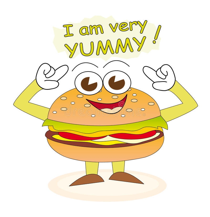 Yummy burger. Cheerful burger cartoon character who says that he is very yummy stock illustration