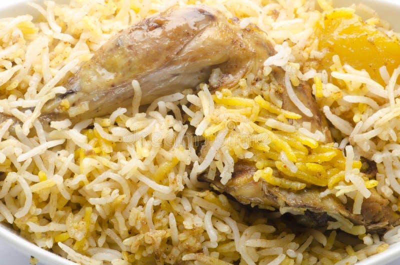 Yummy chicken biriyani. Yummy delicious indian chicken biriyani royalty free stock photo