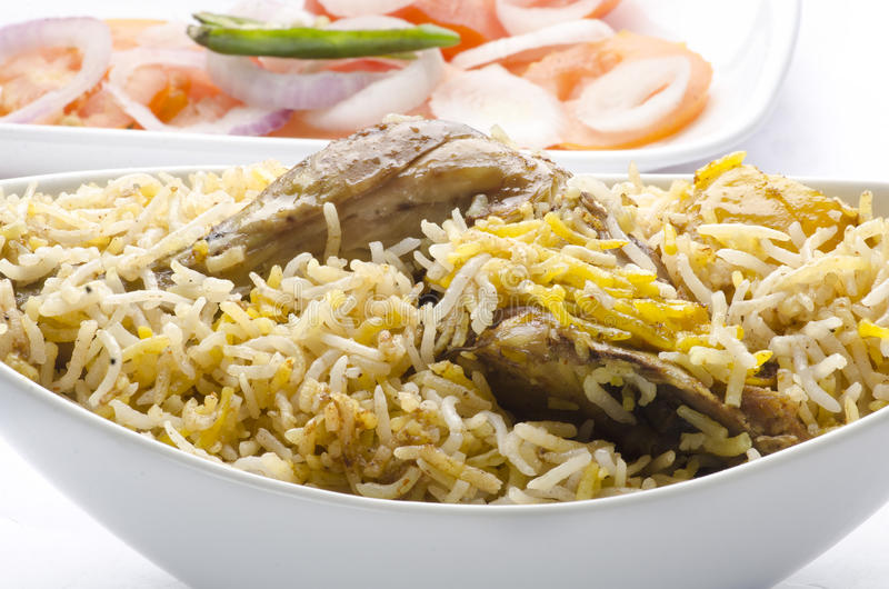Yummy chicken biriyani. Yummy healthy indian chicken biriyani royalty free stock image