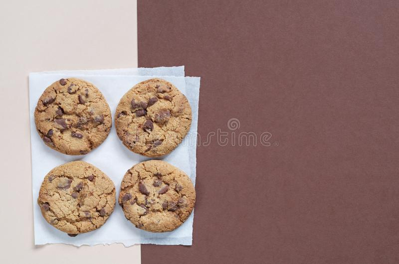 Yummy chocolate chips cookies stock photo