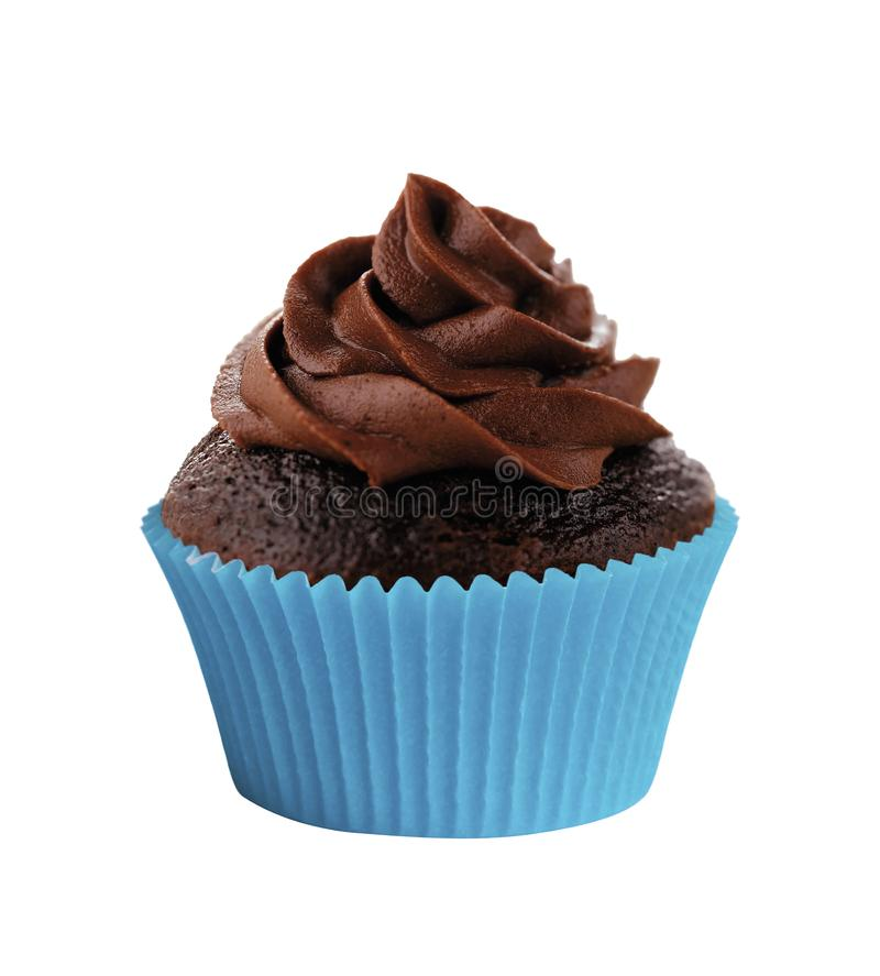 Yummy chocolate cupcake isolated on white stock photo