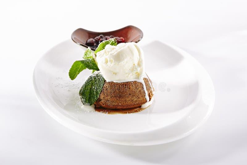 Yummy Chocolate Flan with Ice Cream stock photos