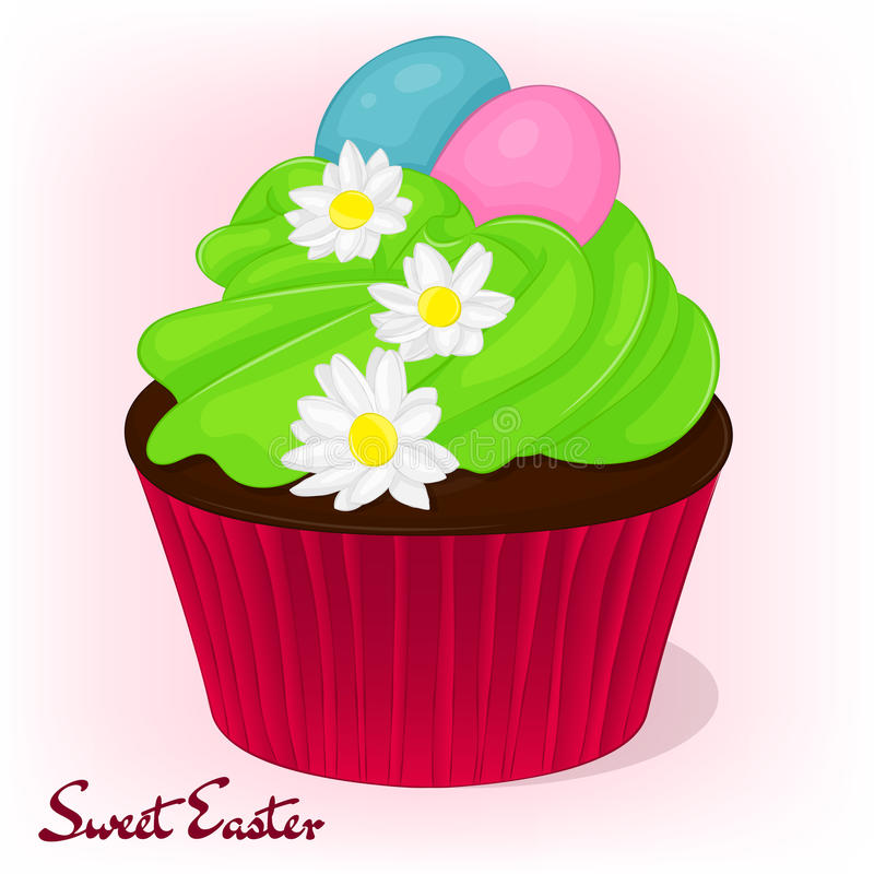 Yummy cupcake for Easter with chamomiles flowers and eggs. Holiday background, poster or placard template in cartoon vector illustration