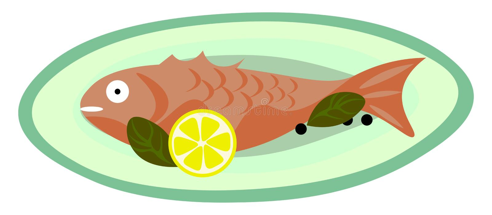 Yummy fish fry vector or color illustration. Yummy fried fish served hot with fresh lemon vector color drawing or illustration vector illustration