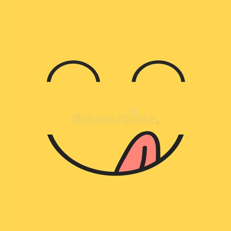 Yummy glimlach Het heerlijke, smakelijke het eten emojigezicht eet met mond en tong gastronomische het genieten van smaak Grappig vector illustratie