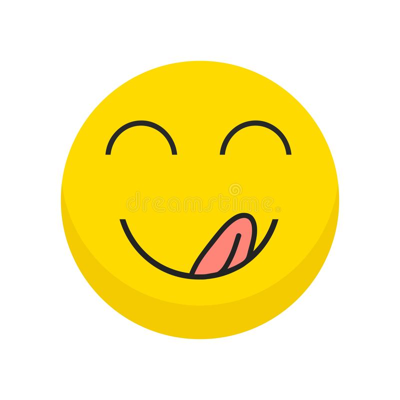 Yummy icon. Hungry smiling face with mouth and tongue emoji. Delicious, healthy funny lunch tasty mood smile avatar happy yellow vector illustration