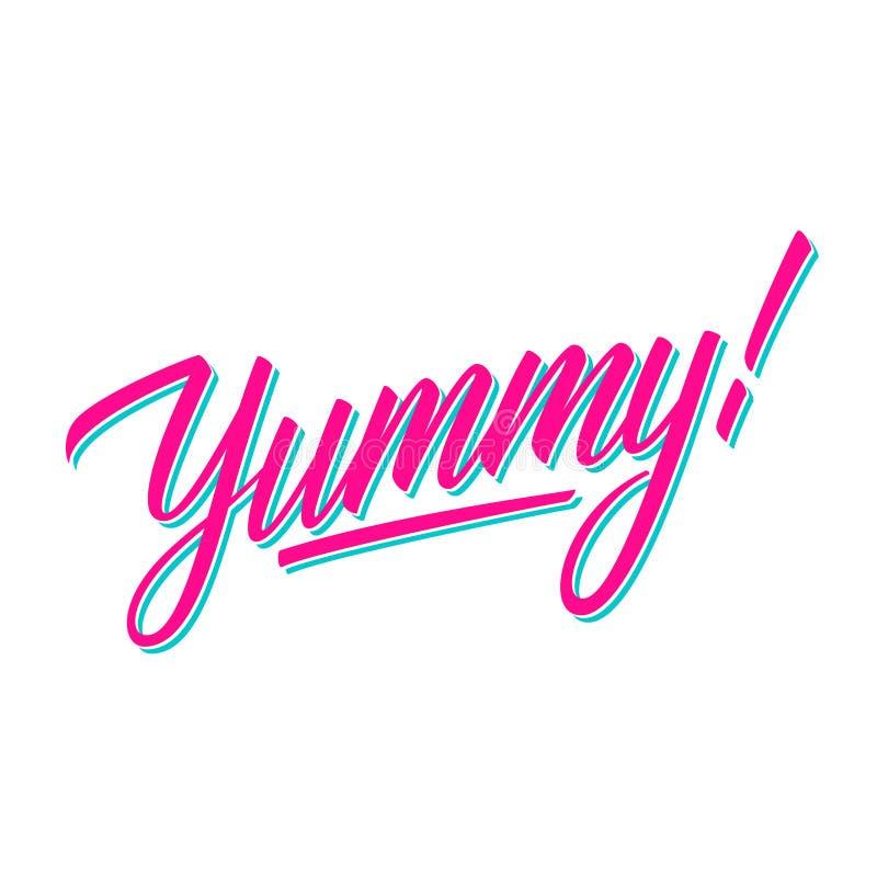 Yummy! met de hand geschreven inschrijving Creatieve typografie voor banners, restaurant, koffiemenu, voedselmarkt stock illustratie