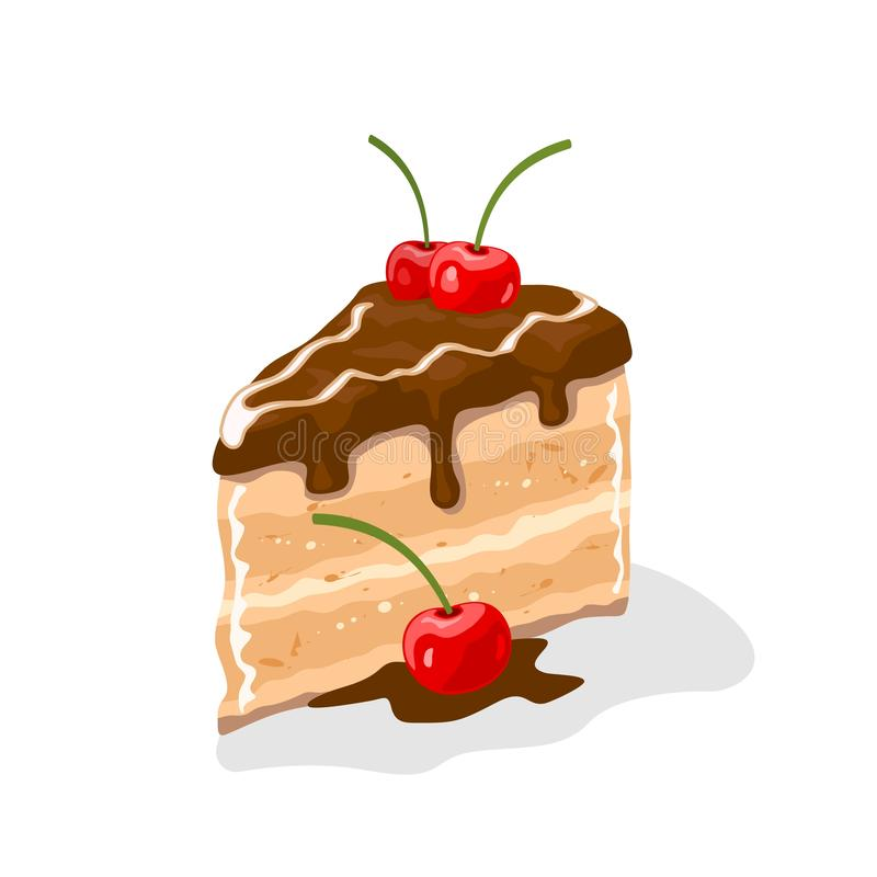 Yummy piece of layer cake, gateau coated by chocolate buttercream with cherries on top. Sweet pleasure. Pastry, dessert garnished by berries. Vector cartoon vector illustration