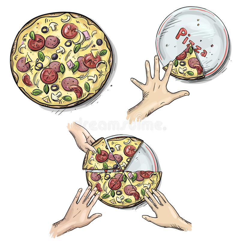 Free Yummy Pizza, Hands Holding Pizza Slices Stock Image - 35947541