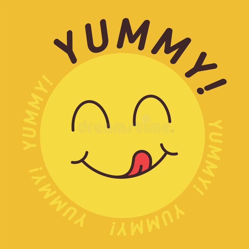Free Yummy Smile Emoticon With Tongue Lick Mouth. Tasty Food Eating Emoji Face. Delicious Cartoon With Saliva Drops On Yellow Royalty Free Stock Photo - 149298955