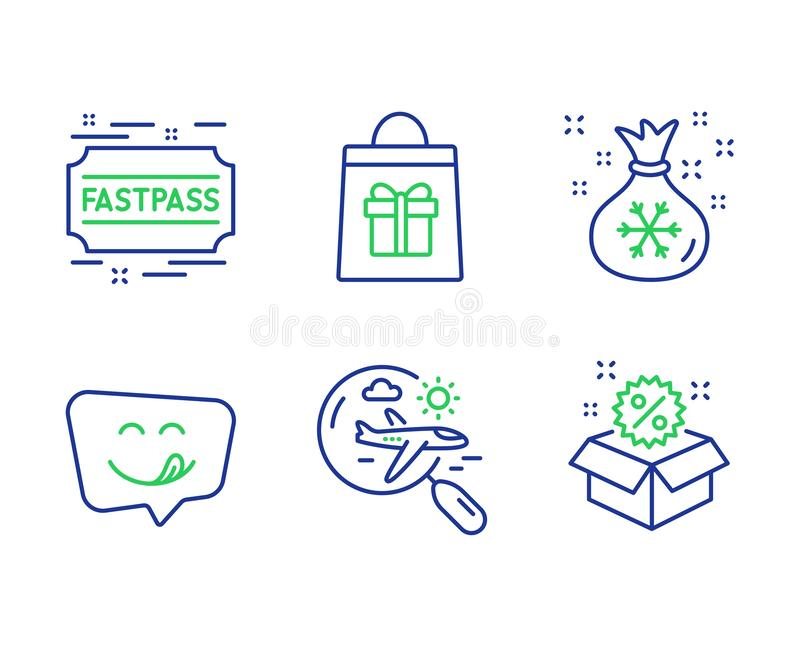 Yummy smile, Search flight and Holidays shopping icons set. Fastpass, Santa sack and Sale signs. Vector stock illustration