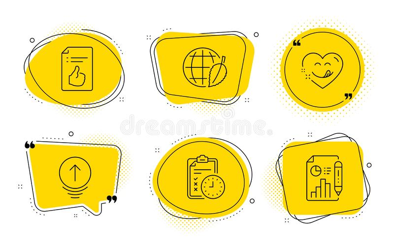 Yummy smile, Swipe up and Exam time icons set. Approved document, Environment day and Report document signs. Vector. Approved document, Environment day and vector illustration