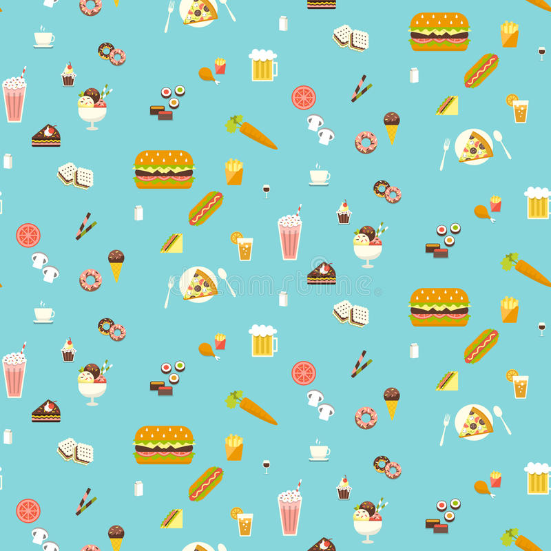 Yummy snacks naadloos patroon vector illustratie