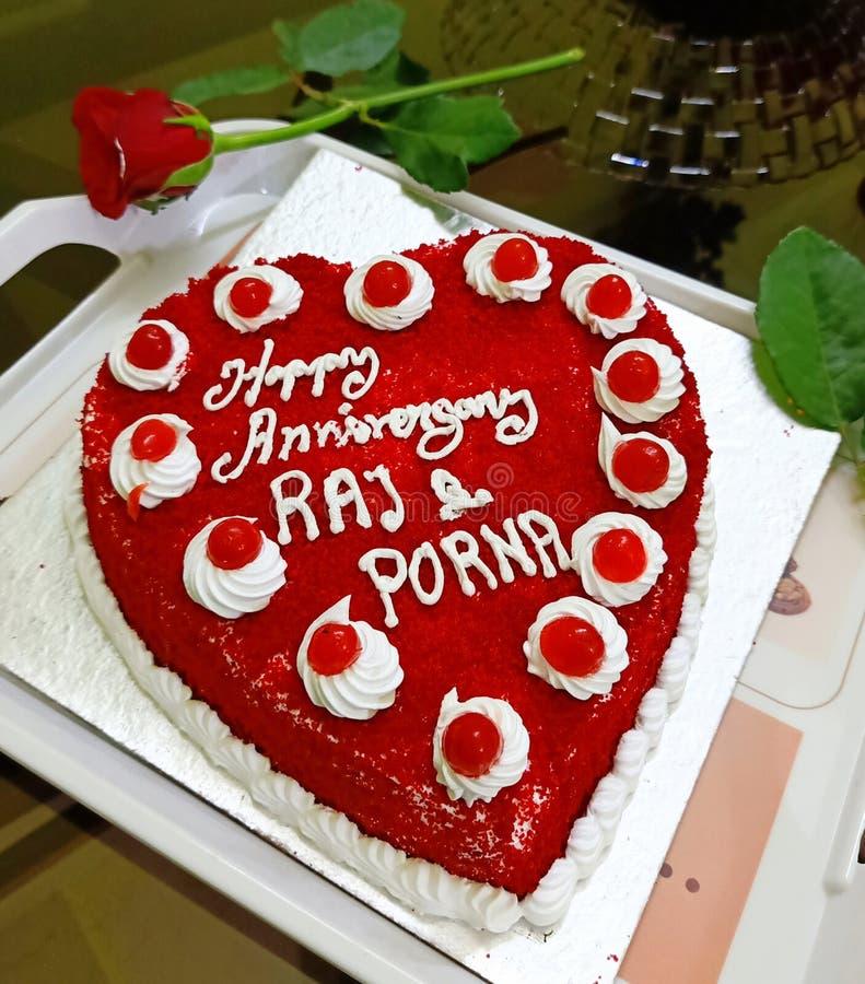 Yummy Soft Red Velvet Veg Cake fotografia stock